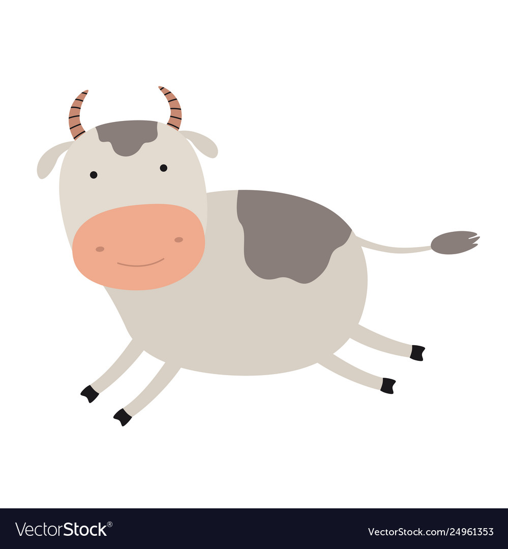 Running cow clipart clip library stock Cartoon cute cow emblem for printing the running clip library stock