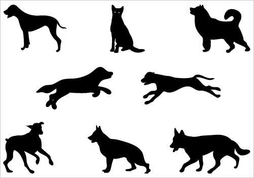 Running dog silhouette clipart