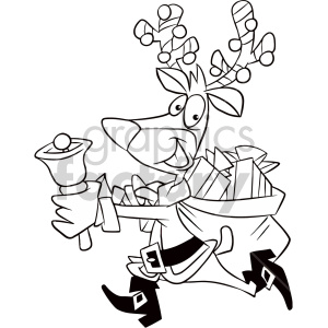 Running dressed nice clipart graphic library download black and white cartoon reindeer dressed like santa running with bag of  gifts coloring page clipart. Royalty-free clipart # 407368 graphic library download