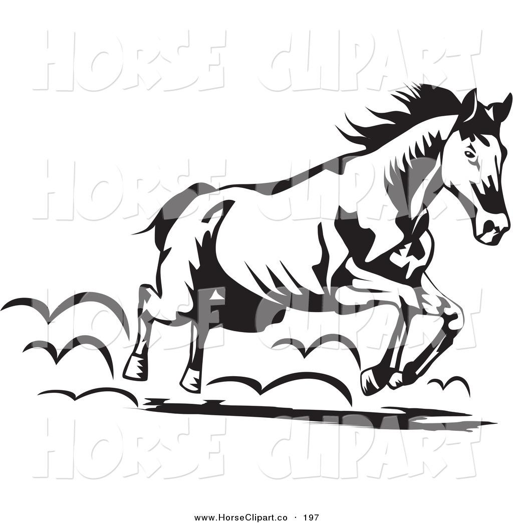Running horse clipart black and white jpg freeuse download Clip Art of a Black and White Running Horse Moving to the ... jpg freeuse download