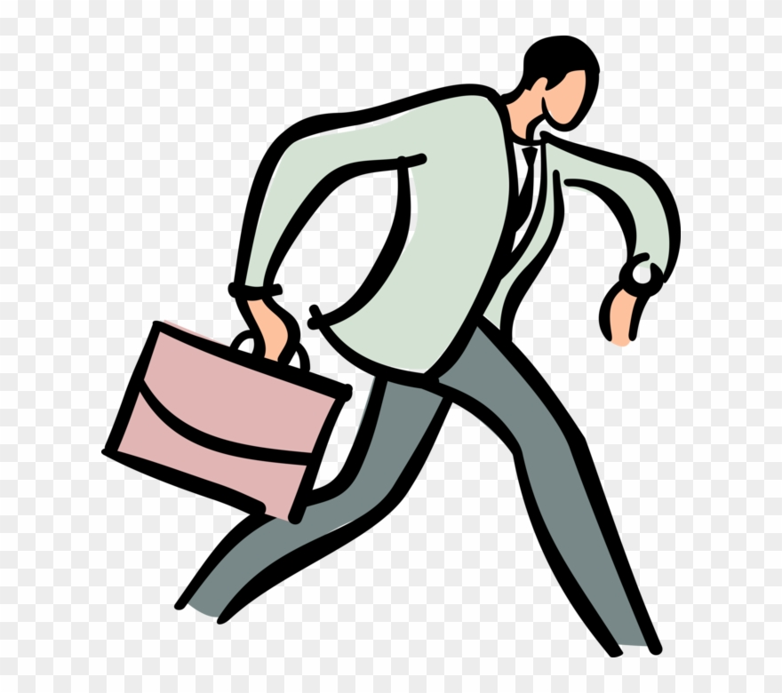 Running late clipart clipart black and white download Vector Illustration Of Businessman Running Late For Clipart ... clipart black and white download