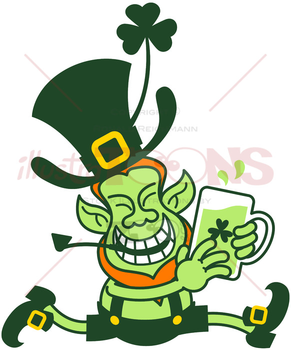 Running leprechaun clipart picture library Leprechaun running away with a mug of beer picture library