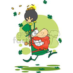 Running leprechaun clipart png Whacky Lucky Leprechaun running with a pot of gold clipart. Royalty-free  clipart # 378878 png