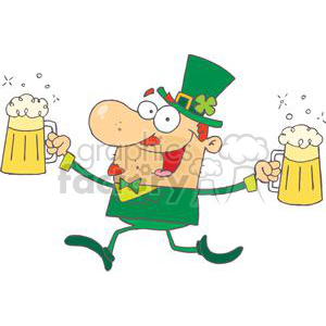 Running leprechaun clipart jpg transparent download Happy Leprechaun Running With Two Pints of Beer clipart. Royalty-free  clipart # 378895 jpg transparent download
