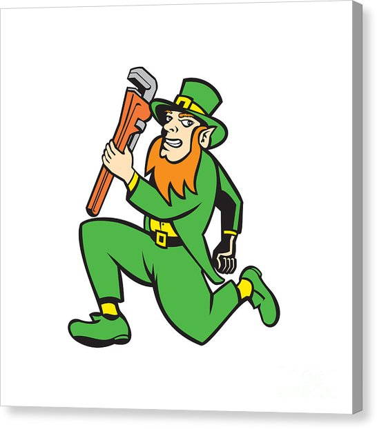 Running leprechaun clipart clipart freeuse download Leprechaun Plumber Wrench Running Retro by Aloysius Patrimonio clipart freeuse download