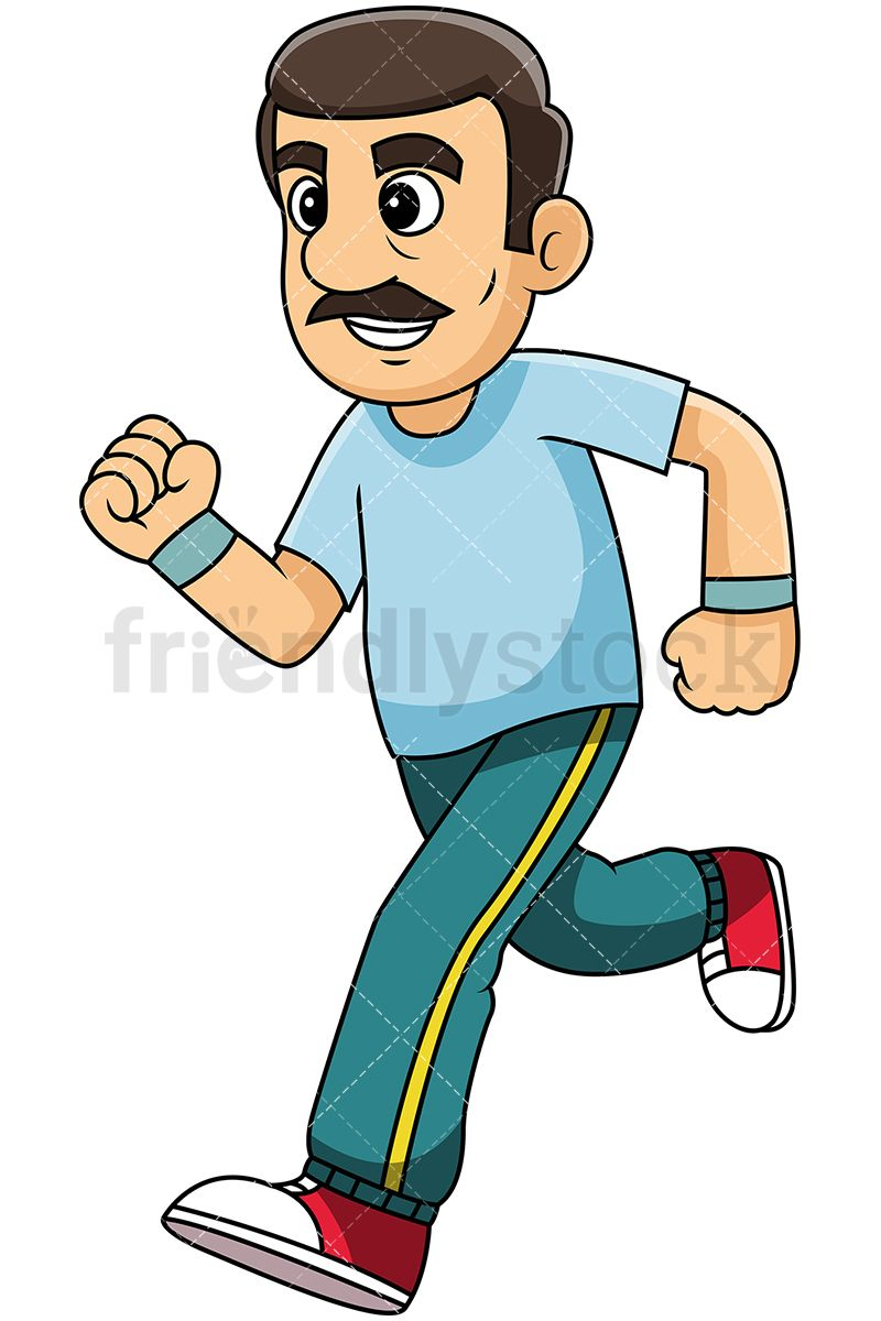 Sweaty jogger clipart freeuse library Mature Man With Moustache Jogging | Mature People Clipart in ... freeuse library