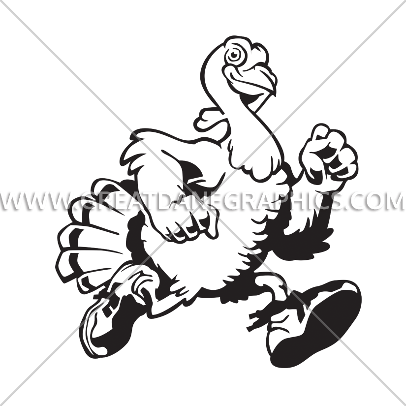 Turkey running clipart black and white picture stock Turkey Run | Production Ready Artwork for T-Shirt Printing picture stock