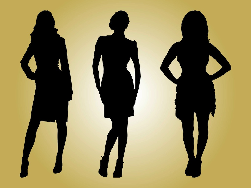 Runway model clipart vector black and white download Fashion Models Silhouettes Vector Art & Graphics ... vector black and white download