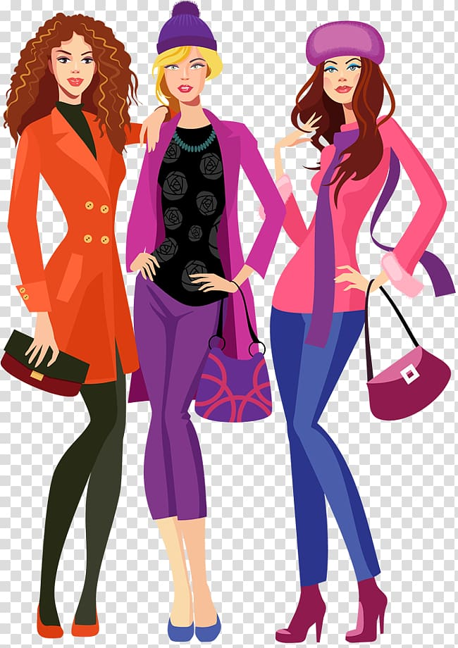 Runway model clipart banner freeuse Three woman standing wearing assorted-color pants ... banner freeuse