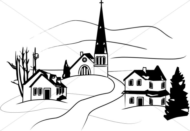 Rural church silhouette clipart black and white vector free library Church Clipart, Church Graphics, Church Images - Sharefaith vector free library