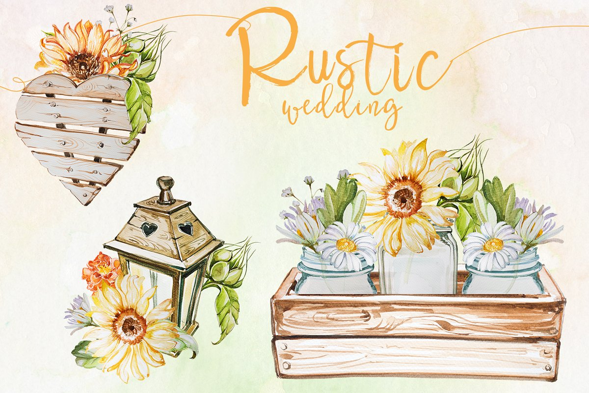 Rustic clipart svg royalty free stock Watercolor Rustic Wedding Clipart svg royalty free stock