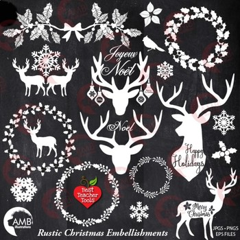 Rustic clipart clipart Christmas Clipart, Antler Clip Art, Deer Clipart, Rustic Christmas AMB-2105 clipart