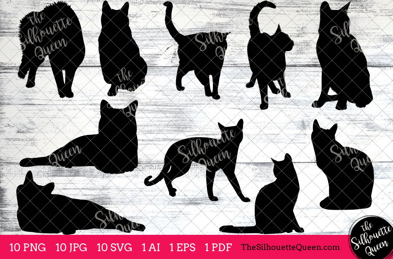 Russian blue cat clipart free download Russian Blue Cat Silhouette Clipart Clip Art(AI, EPS, SVGs, JPGs, PNGs,  PDF), Cat Clipart Vectors - Commercial and Personal Use free download