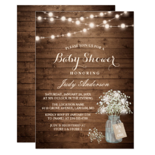 Rustic baby shower clipart banner free stock Baby Shower Rustic Baby\'s Breath Floral Mason Jar Invitation banner free stock