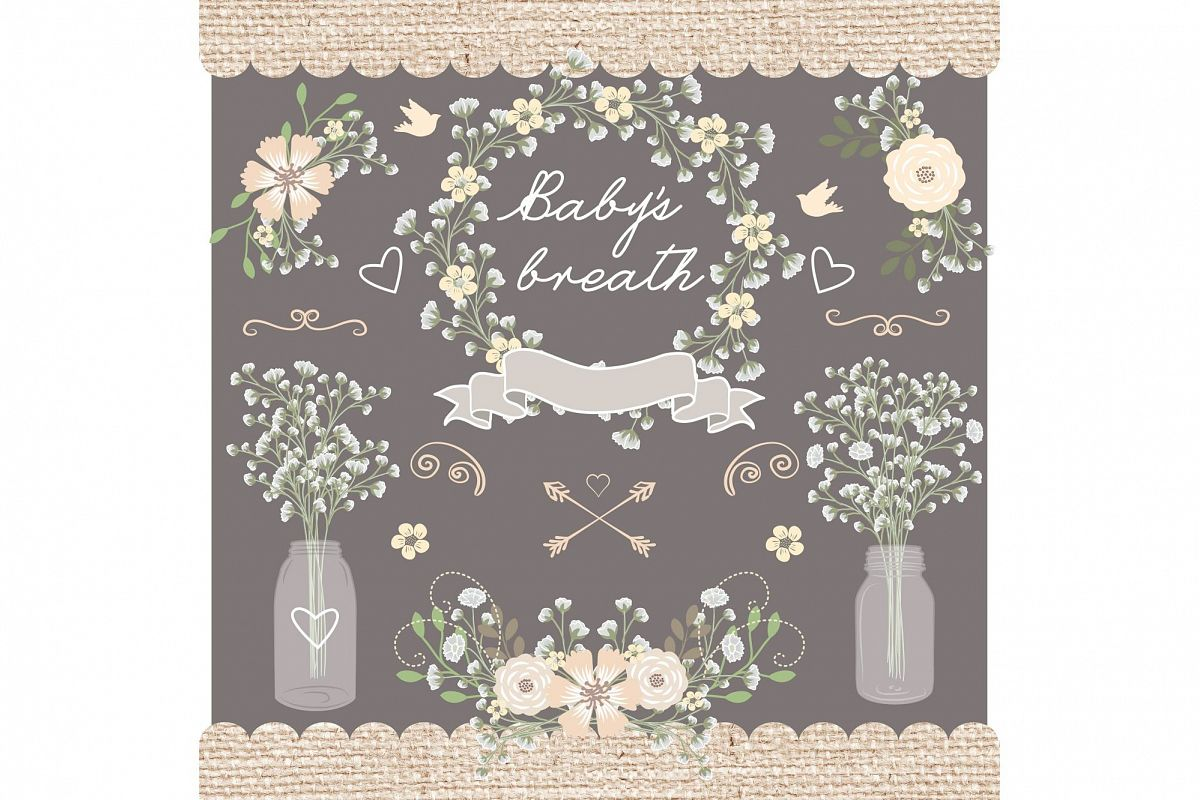 Rustic baby shower clipart banner royalty free stock Vector Rustic babys breath clipart banner royalty free stock