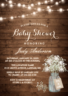 Rustic baby shower clipart transparent library Rustic Baby Shower Invitations | Zazzle transparent library
