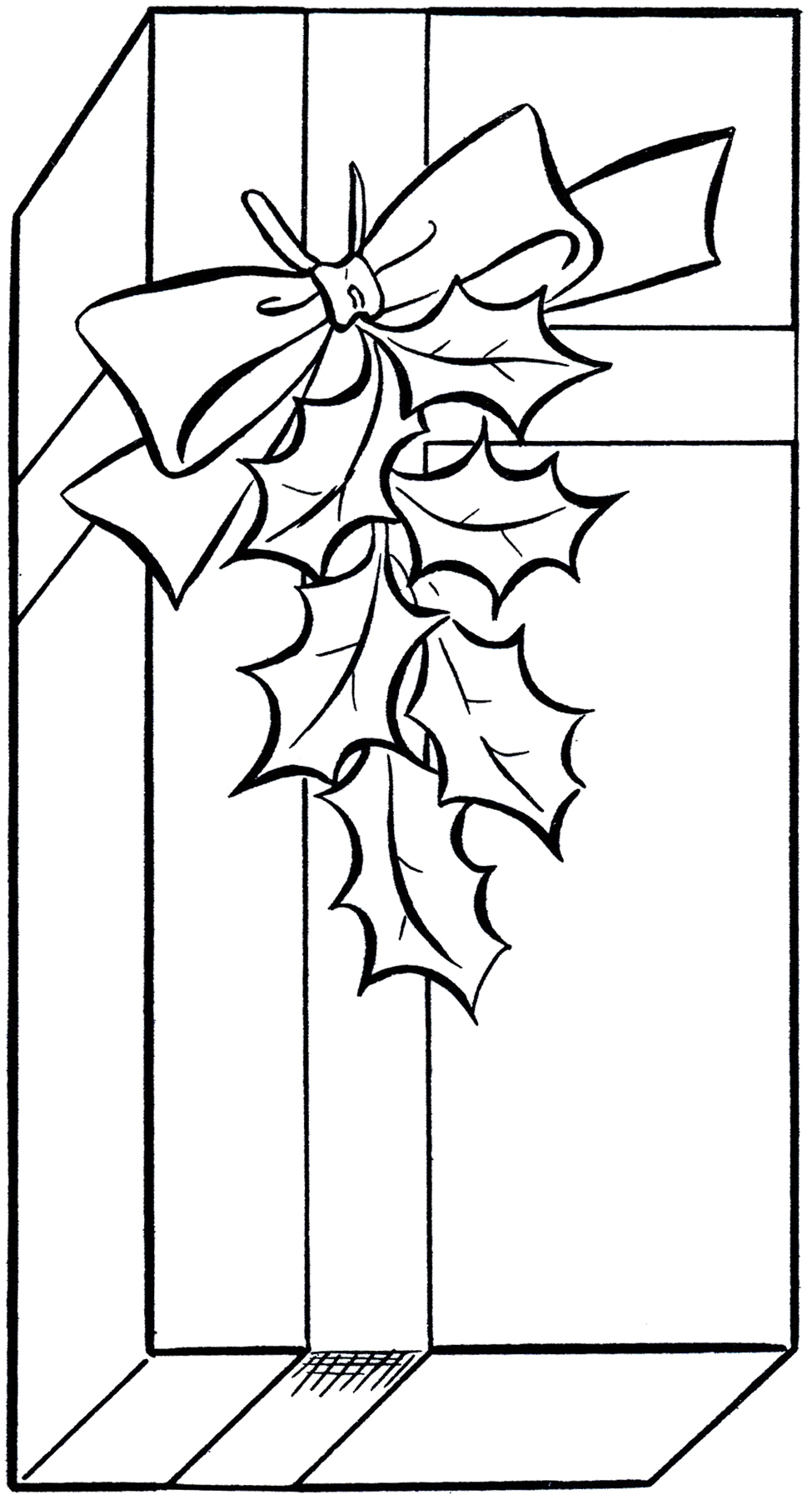 Rustic christmas clipart black and white present vector library stock Holiday Gift Clip Art Image - Coloring Page! - The Graphics ... vector library stock