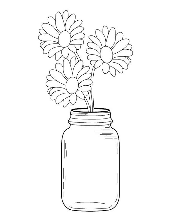Rustic clipart black and white flowers in mason jar svg royalty free Mason Jar Daisy Bouquet Coloring Page | Cute wedding ideas ... svg royalty free
