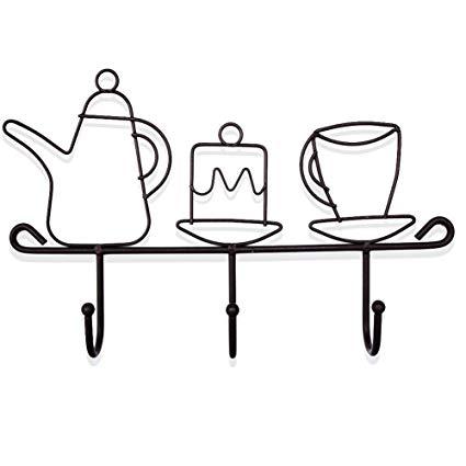 Rustic coffee mug clipart svg free stock Amazon.com: KiaoTime Decorative Wall Mounted Hooks Rack ... svg free stock
