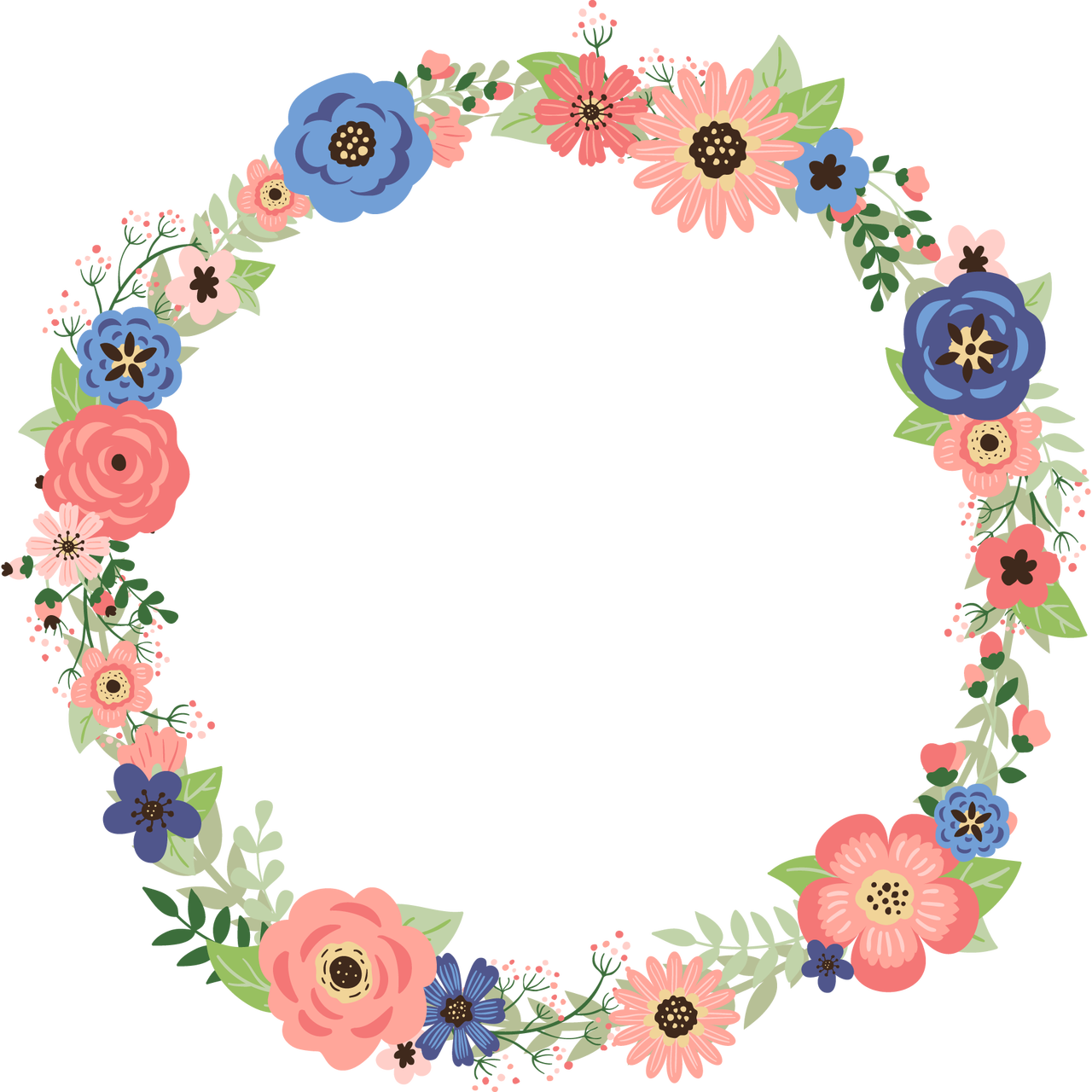 Rustic flower clipart picture black and white library CORAL AND NAVY FLORAL WREATH READY TO PRESS TRANSFER - Blue Phoenix ... picture black and white library