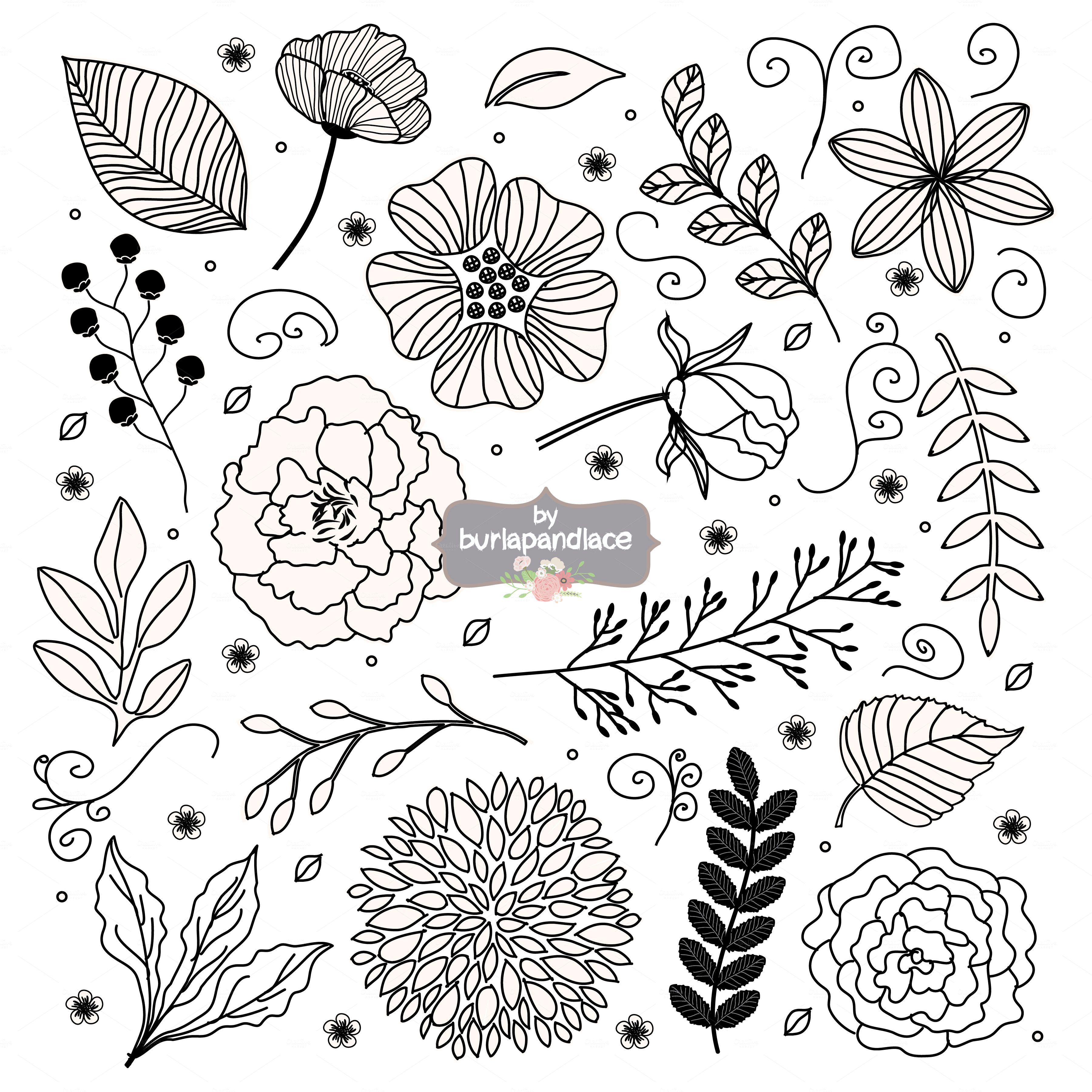 Rustic flower clipart black and white picture royalty free download Vector Rustic Black flowers cliparts by burlapandlace on ... picture royalty free download