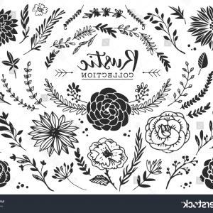 Rustic flower clipart black and white clip art library library Rustic Decorative Plants Flowers Collection Hand | SOIDERGI clip art library library