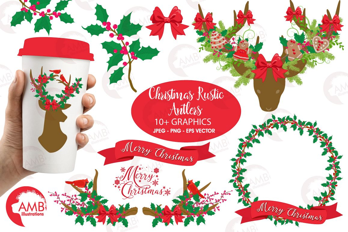 Rustic merry christmas clipart jpg free Christmas Rustic Antlers clipart, graphics and illustratins AMB-1506 jpg free