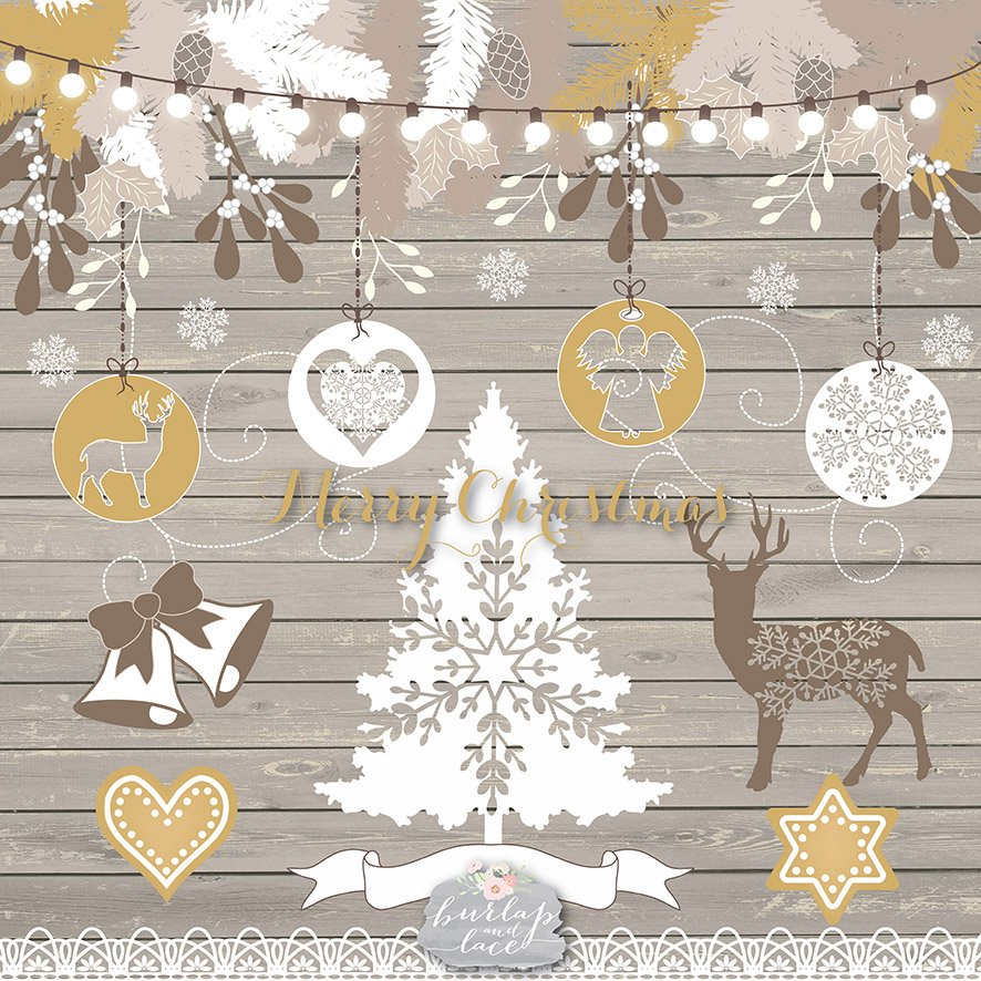 Rustic merry christmas clipart