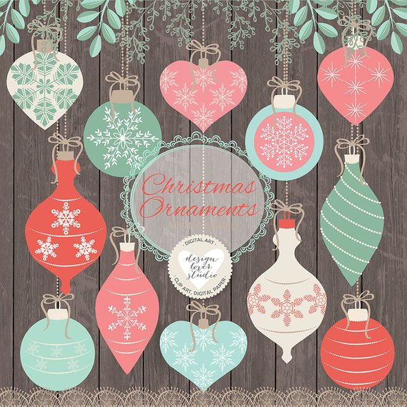 Rustic ornaments clipart picture freeuse Premium Vector Rustic christmas clipart, xmas clipart ... picture freeuse