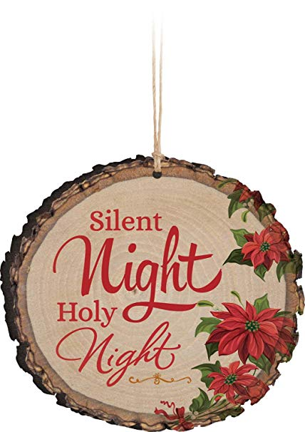 Rustic ornaments clipart clip transparent stock P. Graham Dunn Silent Night Holy Night Poinsetta Rustic Bark Look Wood  Christmas Ornament clip transparent stock