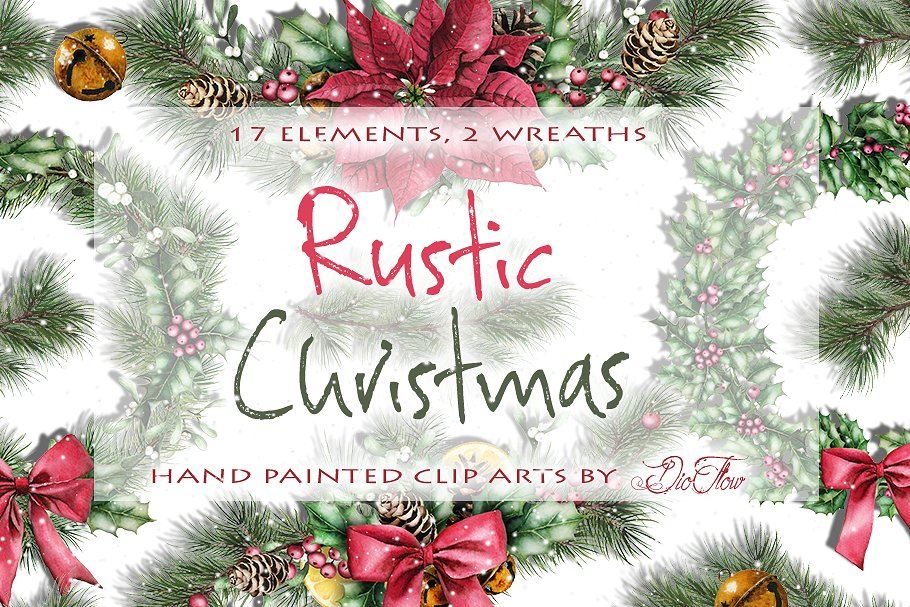 Rustic ornaments clipart clipart royalty free stock Rustic Christmas Watercolor Clip Art ~ Illustrations ... clipart royalty free stock