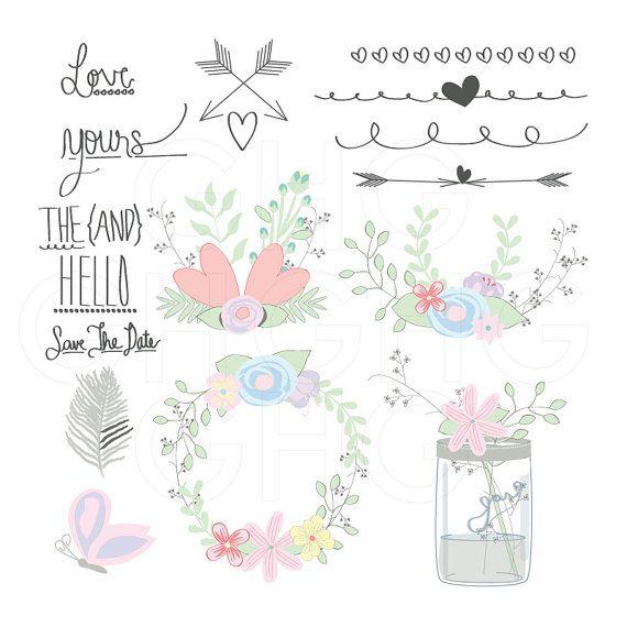 Rustic springtime clipart borders image freeuse stock Wedding Clip Art Spring Wedding Floral Clip by ... image freeuse stock
