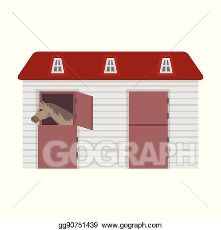 Rustic stable clipart banner freeuse library Vector Art - Horse stable icon in cartoon style isolated on ... banner freeuse library