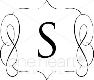 S monogram clipart black and white svg freeuse stock Classic Monogram S Clipart | Wedding Monograms svg freeuse stock