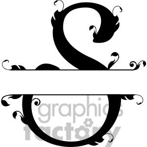 S monogram clipart free graphic black and white stock Split regal s monogram vector design | folder | Pinterest ... graphic black and white stock