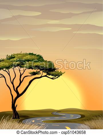 Sabana clipart image royalty free download campo, ocaso, camino, sabana image royalty free download