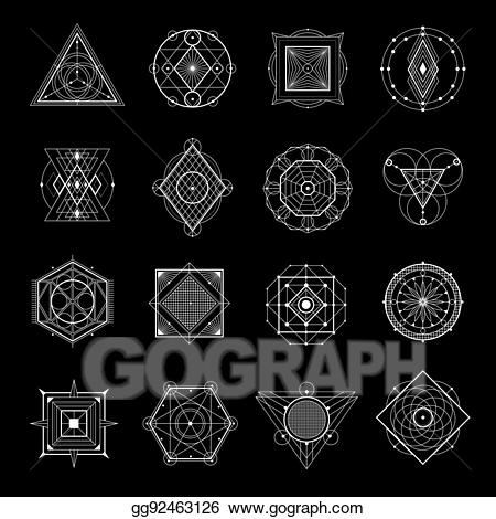 Sacred geometry black and white clipart clipart transparent download Vector Stock - Sacred geometry on black set. Stock Clip Art ... clipart transparent download
