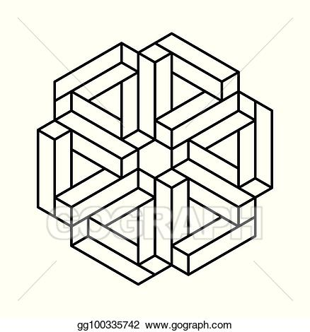 Sacred geometry black and white clipart jpg download Vector Art - Impossible shapes. optical illusion. vector ... jpg download