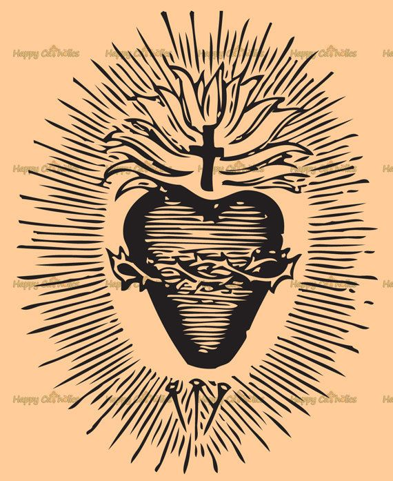 Sacred heart christian clipart picture free Catholic Art // Clip Art // Sacred Heart of Jesus Vector ... picture free