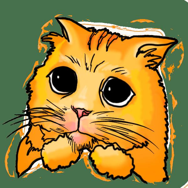 Sad Cat Cartoon clip black and white stock