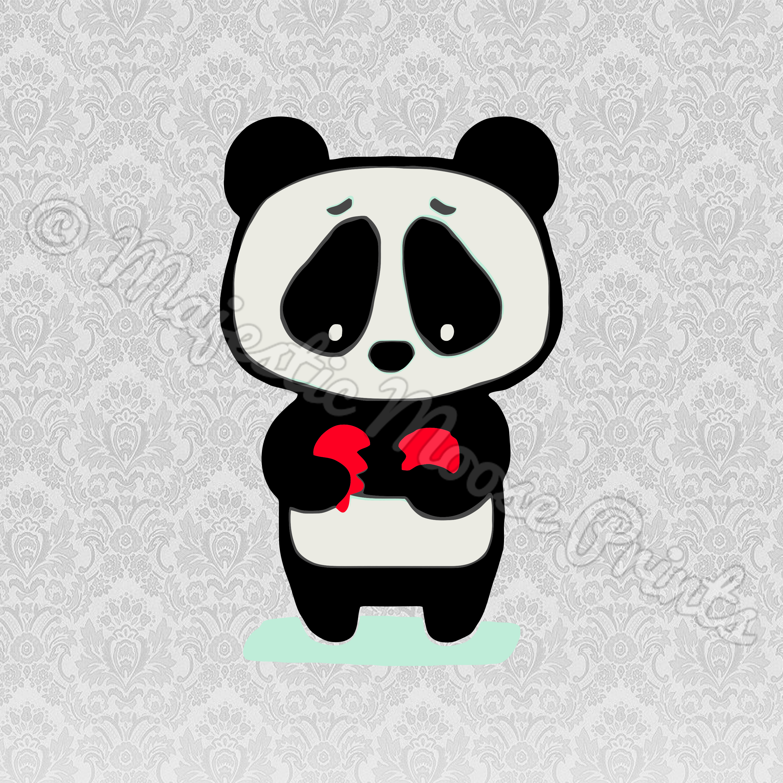 Majestic Moose Prints - Sad Panda SVG / Clipart / Cut File banner black and white stock