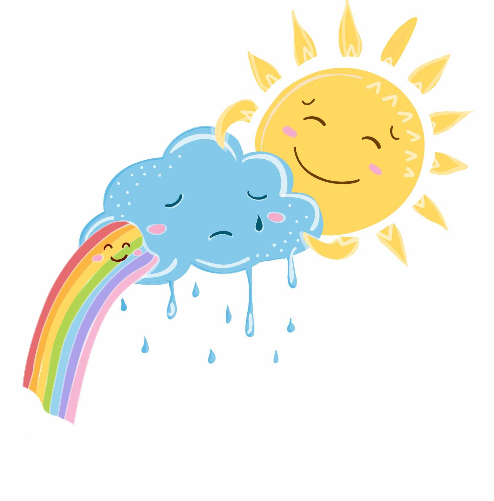 Sun i feel clipart image transparent stock Rainbow and sun cheer up sad cloud illustration. Cute ... image transparent stock