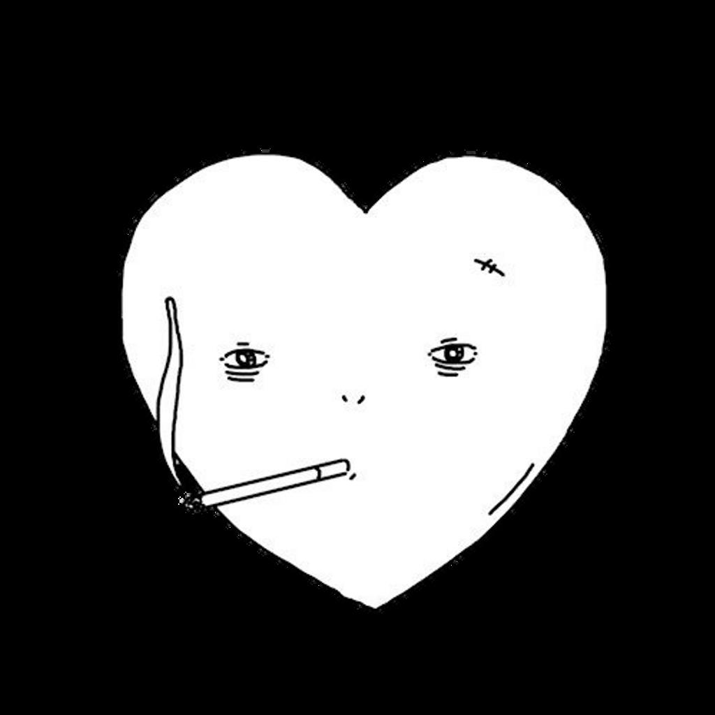 freetoedit sad heart smoking - Sticker by HwiTaePie jpg black and white download