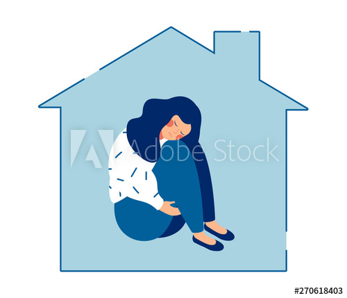 Sad woman alone clipart freeuse download Young sad woman sits alone at home and hugging her knees ... freeuse download