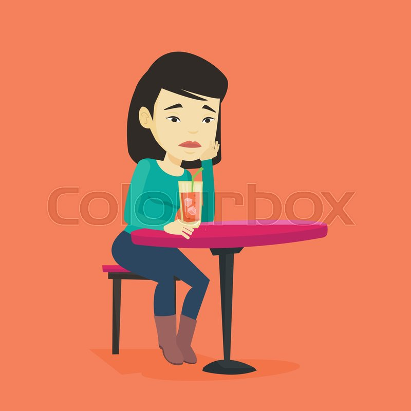 Sad woman alone clipart graphic library Upset asian woman sitting in bar and ... | Stock vector ... graphic library