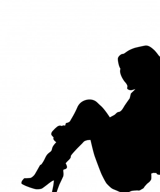 Sad woman clipart silhouette graphic black and white library Woman Sitting Silhouette Clipart Free Stock Photo - Public ... graphic black and white library