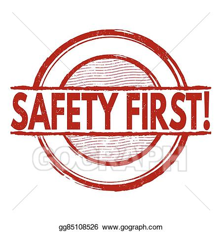 Safety first pink clipart svg royalty free download Vector Clipart - Safety first stamp. Vector Illustration ... svg royalty free download