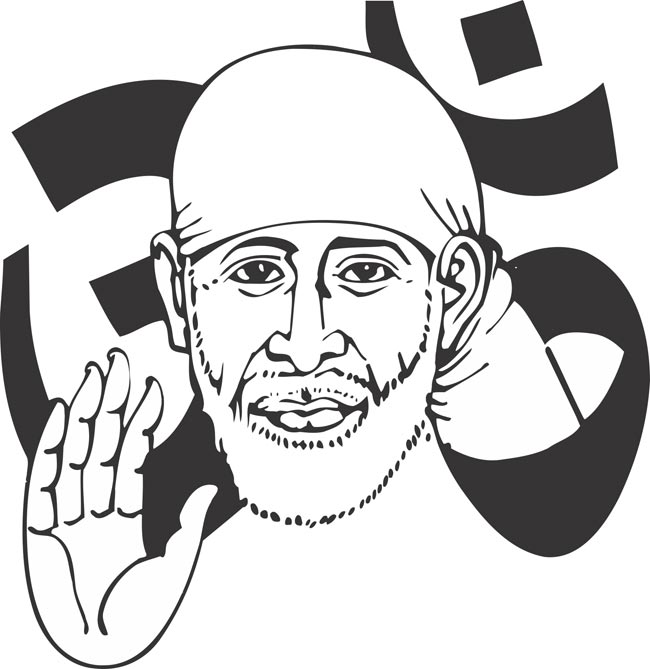Sai baba clipart vector royalty free stock Hair, Man, Nose, Head, Product, Hand, Design, Line, Smile ... vector royalty free stock