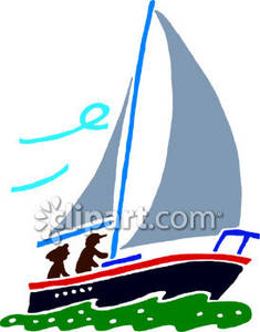 Sailboat clipart with people jpg black and white download Two People on a Sailboat Royalty Free Clipart Picture jpg black and white download
