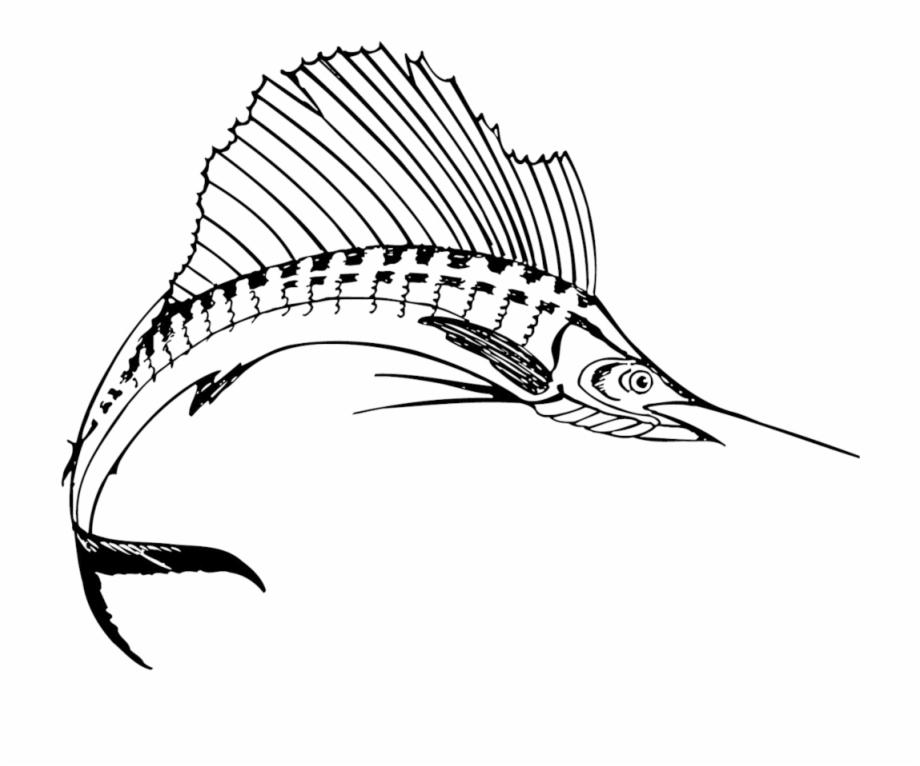 Sailfish clipart black and white svg free stock Sailfish Clipart Sport Fishing - Sailfish Black And White ... svg free stock